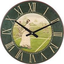 Navika USA Vintage Lady Tennis Player Wall Clock, Green/Brown