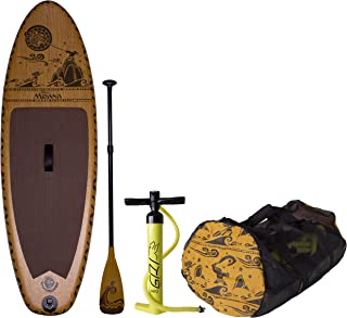C4 Waterman Disney Moana Inflatable Stand Up Paddle Board Set, Woodgrain Brown, One Size