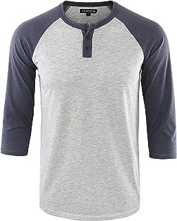 Men's Casual Vintage 3/4 Sleeve Henley Baseball Jersey Knit T Shirts