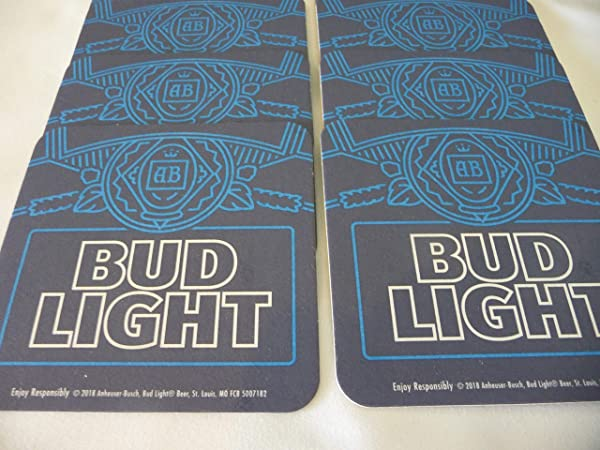 Bud Light Beer Coaster Set Of 8 Eight Two Sided