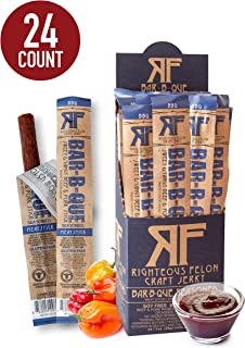 Righteous Felon Meat Sticks Bundle - BBQ - All-Natural Craft Beef Jerky Sticks High-Protein - Low-Sugar Healthy Snacks 24 ...