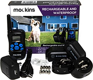 Mockins Set of 2 | 100% Waterproof and Rechargeable Electronic Remote Training Dog Collar | Shock Collar for Dogs with 990 ft Range E Collar,Beep and Vibration Easy Use for Big, Medium and Small Dog