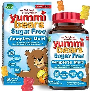 Yummi Bears Sugar Free Multivitamin and Mineral Gummy Vitamin for Kids, 60 Gummy Bears