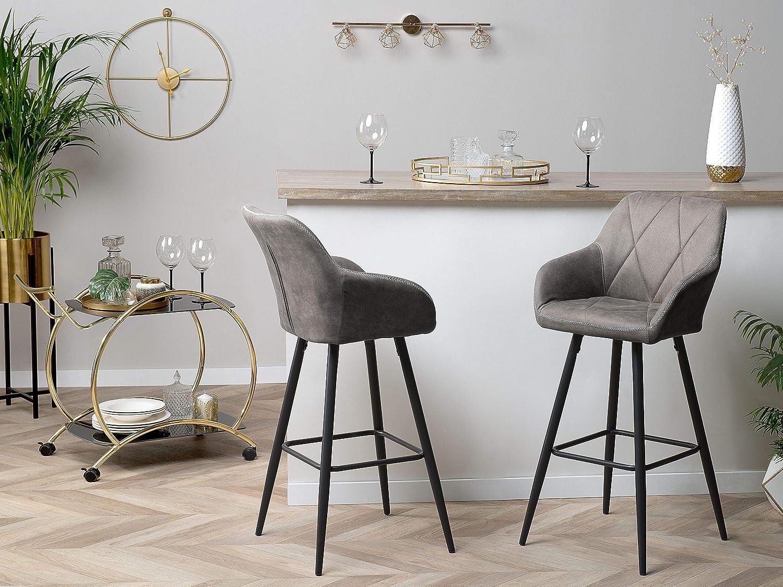 Beliani Darien Set of 9 Bar Stools Upholstered in Modern Look Grey