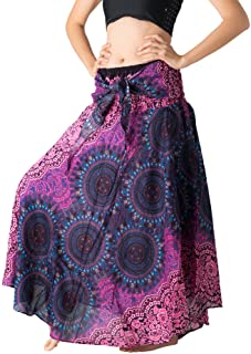 2760d2a0c48 Bangkokpants Women s Long Hippie Bohemian Skirt Gypsy Dress Boho Clothes  Flowers One Size Fits Asymmetric Hem