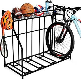BIRDROCK HOME 4 Bike Stand Rack with Storage – Metal Floor Bicycle Nook – Great for Parking Road, Mountain, Hybrid or Kids...