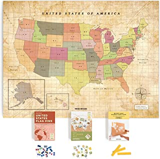 Miss Wood Push Pin United States Travel Map Kit Includes: Cork US Map, State Flags and Travel Stickers, for Travelers (L (17.7 x 23.6 inches), Old School)