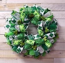 St. Patty's Clover Wreath, Saint Patrick's Day Wreath, Irish Wreaths, St. Patricks Day, Green White Wreaths, 3744