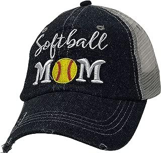 Softball Mom Embroidered Baseball Hat Mesh Trucker Style Hat Cap Dark Grey