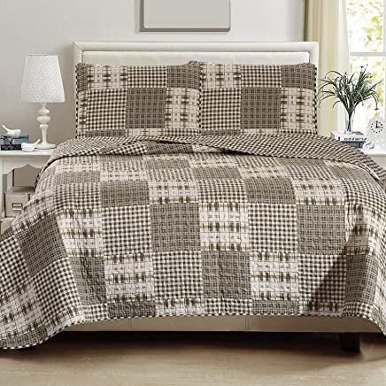 Great Bay Home 3-Piece Lodge Quilt Set with Shams. Durable Cabin Bedspread and Shams with Plaid Pattern. Woodland Collection Brand. (Full/Queen)
