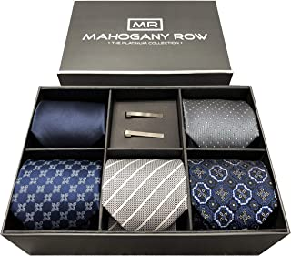 Necktie Collections in Gift Box, 5 Luxury Italian Neckties, 2 Modern Tie Bars, Designer Gift Box, The Must Have Gift Set