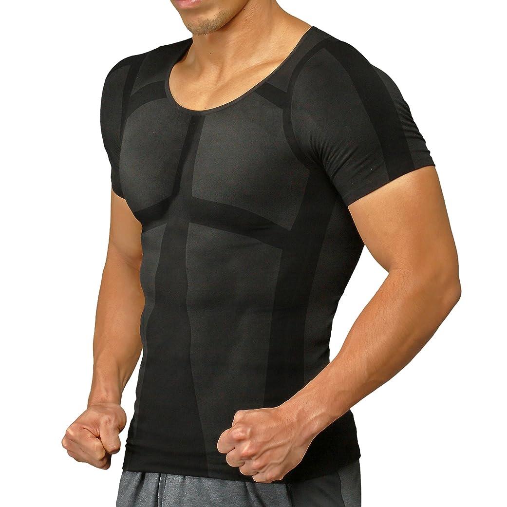 スリムマルコポーロ外国人加圧シャツ ヒロミプロデュース パンプマッスルビルダーTシャツ(Mサイズ/ブラック)