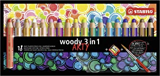 Multi-talented Pencil STABILO woody 3-in-1 ARTY Wallet of 18 Assorted Colours + Sharpener & Paint Brush