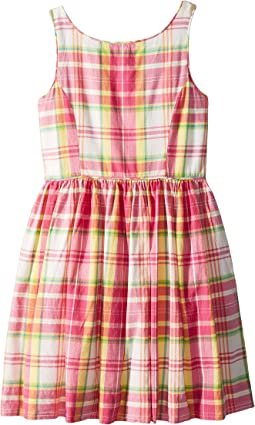 Madras Cotton Sleeveless Dress (Little Kids)