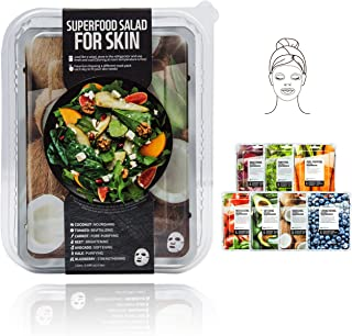 Innerest Superfood Salad Beauty Facial Sheet Mask with Natural Colostrum K-Beauty (Salad D, 7 pcs)