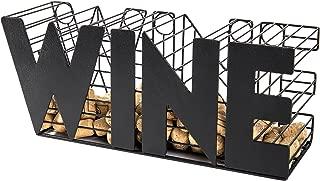 MyGift 14-Inch Decorative Metal Mesh WINE Cork Holder Basket, Black