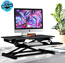 Height Adjustable Computer Desk Stand - Portable Computer Sit / Stand Desk with Quick Setup Pop-up Design, Stain-Resistant, Provides Spacious Work Area & No Assembly Required - Pyle PDRIS14