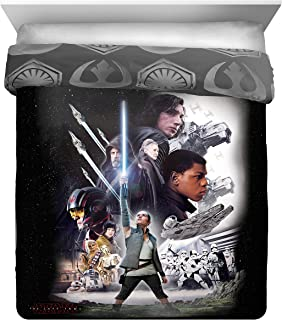 Star Wars Ep 8 Epic Poster Full/Queen Comforter - Reversible Bedding features Rey, Finn, Poe, Kylo Ren, Luke Skywalker, Leia, BB-8, C3-PO, R2-D2 & Chewbacca (Offical Star Wars Product)