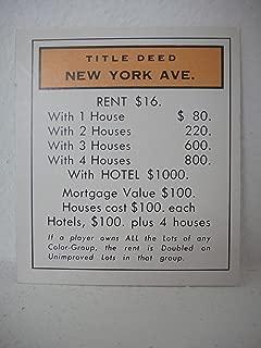 new york avenue monopoly card
