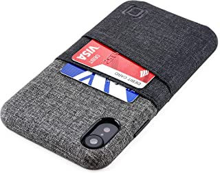 Dockem Luxe M2 Wallet Case for iPhone XR: Built-in Invisible Metal Plate, Designed for Magnetic Mounting: Slim Canvas Style Synthetic Leather Card Case: M-Series [Black and Grey]