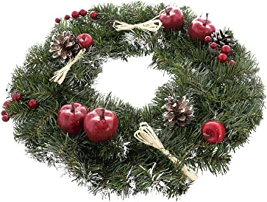 Ukrainian Christmas Wreath w. Frosted Straw Bows, Apples & Pine Cones 16 Inches
