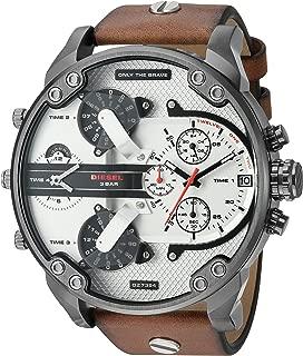 Men's DZ7394 Mr. Daddy 2.0 Gunmetal IP Brown Leather Watch