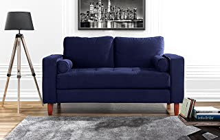 DIVANO ROMA FURNITURE Couch for Living Room, Tufted Velvet Fabric Sofa with Back Cushions, Tufted Bottom and 2 Extra Cushions (Navy)