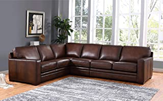 Hydeline Dillon 100% Leather Sofa Set (Sectional, Brown)