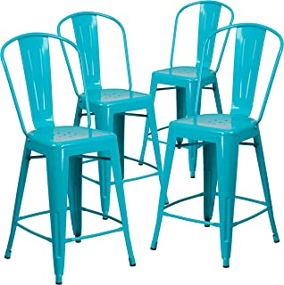 Flash Furniture 4 Pk. 24'' High Crystal Teal-Blue Metal Indoor-Outdoor Counter Height Stool with Back