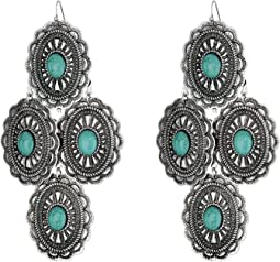 M&F Western - Oval Turquoise Concho Chandelier Earrings