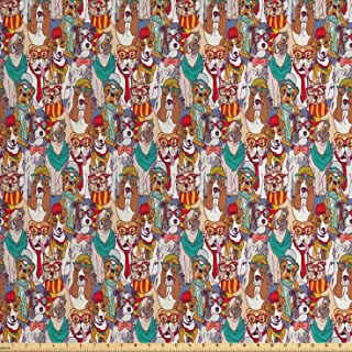 Ambesonne Dog Fabric by The Yard, Hipster Bulldog Schnauzer Pug Breeds with Glasses Hats Scarf Pattern Colorful Cartoon, Decorative Fabric for Upholstery and Home Accents, 3 Yards, Teal Brown