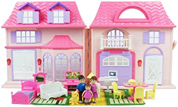 Boley Pretend Play American Doll House Toy Playset - 21-Piece Portable Dollhouse, a Perfect Toddler Girls and Kids' T...