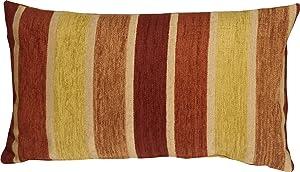 Pillow Decor - Savannah Stripes 12x20 Yellow Orange Chenille Throw Pillow