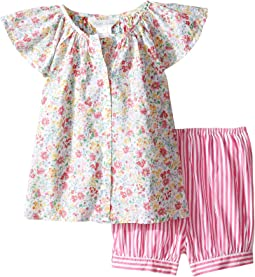 Printed Cotton Striped Shorts Set (Infant)