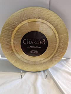 "Silver Spoons 13"" x 14"" Gold Round Charger Round Plates, Set of 10"