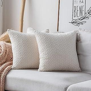 """UGASA Decor Wheat Ears Striped Velvet Pillow Cover, Polyester & Polyester Blend, Cream, 18""""x18"""", 2 Packs"""
