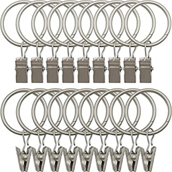 Home D/écor Intl Rings with Clips for Window Brushed Black Nickel Set of 8