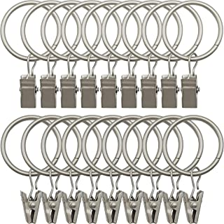 Topspeeder 18 Pack Rings Curtain Clips Strong Metal Decorative Drapery Window Curtain Ring with Clip Rustproof Vintage 1.26 Inch Interior Diameter Mist Silver Color