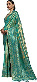 Women's New Kanchipuram Silk Teal Saree With Blouse (DL-29502,Teal)
