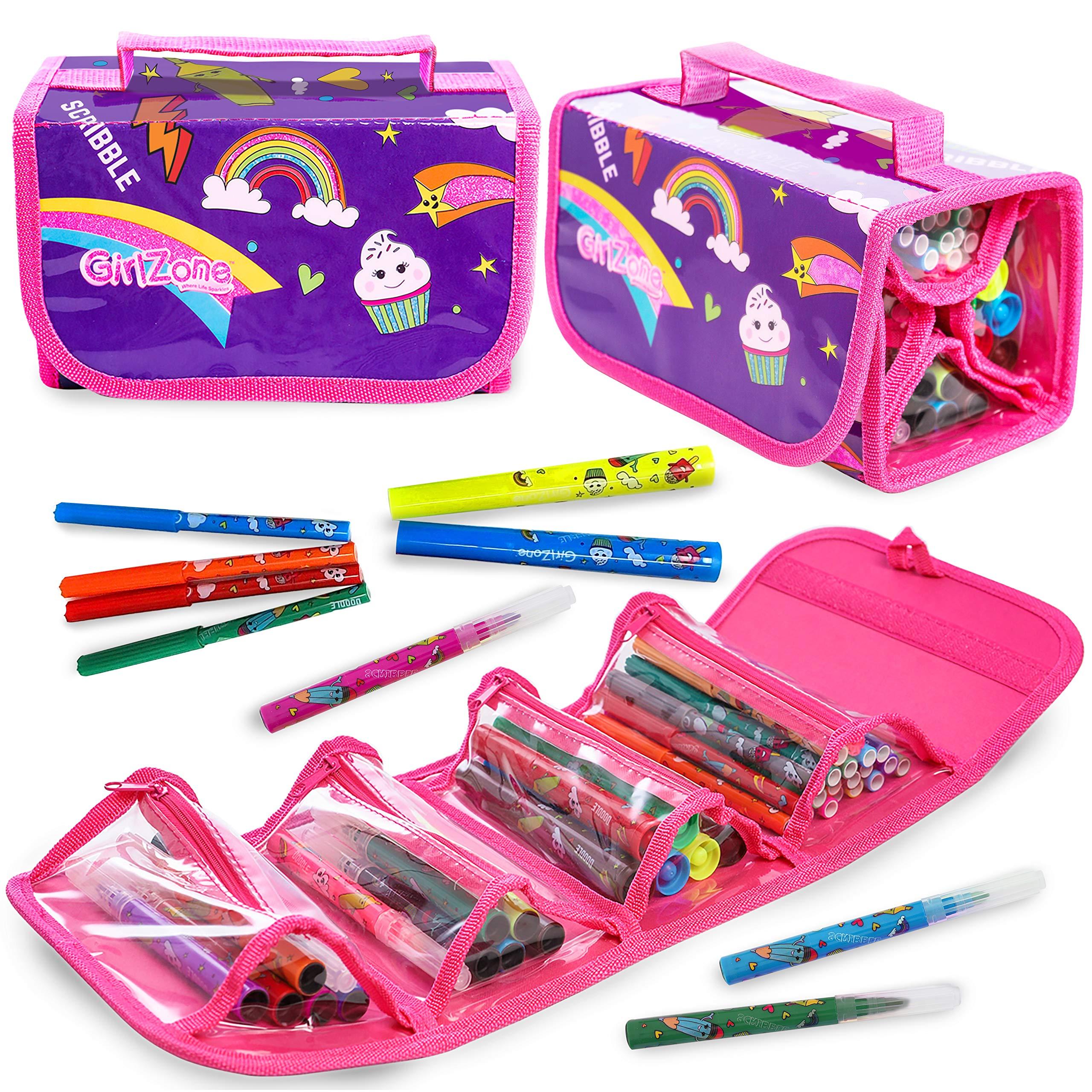 GirlZone Regalos para Niñas - Estuche Enrollable Rotuladores - Estuche Enrollable - 38 Rotuladores Perfumados - Scented Pens - Set de Papelería 3 a 12 años: Amazon.es: Juguetes y juegos