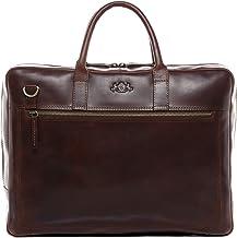 SID & VAIN Laptoptasche echt Leder Dixon groß Businesstasche Umhängetasche Aktentasche Laptopfach 15.6 Ledertasche Unisex