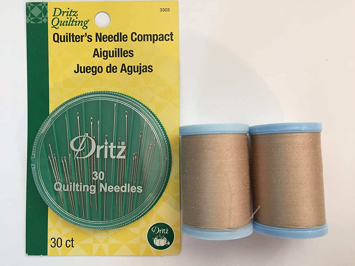 Quilting Bundle Needles and Coats Cotton Covered Quilting and Piecing 3-Ply Thread Strong Smooth Low Lint Preferred by Quilters (Buff 8050)