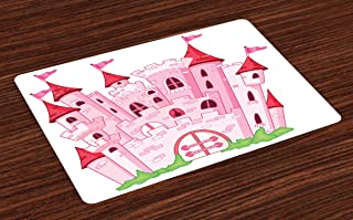 Ambesonne Fantasy Place Mats Set of 4, Princess Castle Fairy Tale Princess Magic Kingdom Cartoon Illustration Art, Washable Fabric Placemats for Dining Room Kitchen Table Decor, White Pink