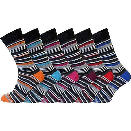 Socksmad Men's Socks – 6 Pair Pack Multicoloured Striped Cotton Socks for Men
