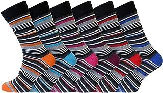 Socksmad Strumpor för män – 6 par pack flerfärgade randiga bomullsstrumpor för män