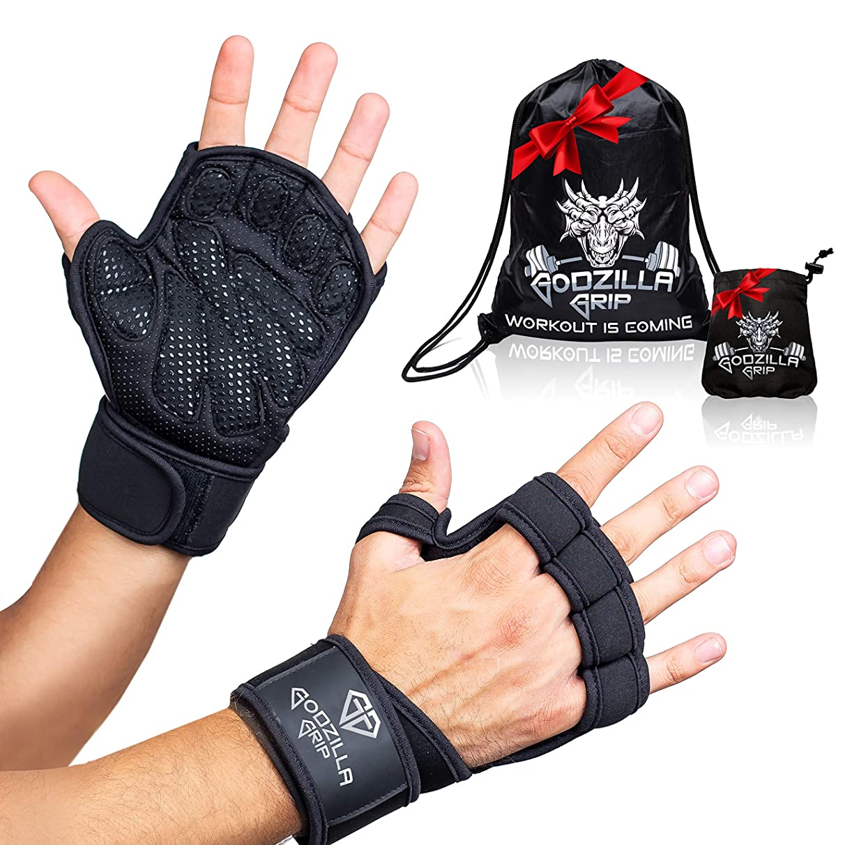 Godzilla Grip Fitness Gloves for Weightlifting, Crossfit – Black Workout Gloves with Wrist Support & Full Palm Protection for Men &Women – Hand Protection for Lifting, Workouts, Cross Training