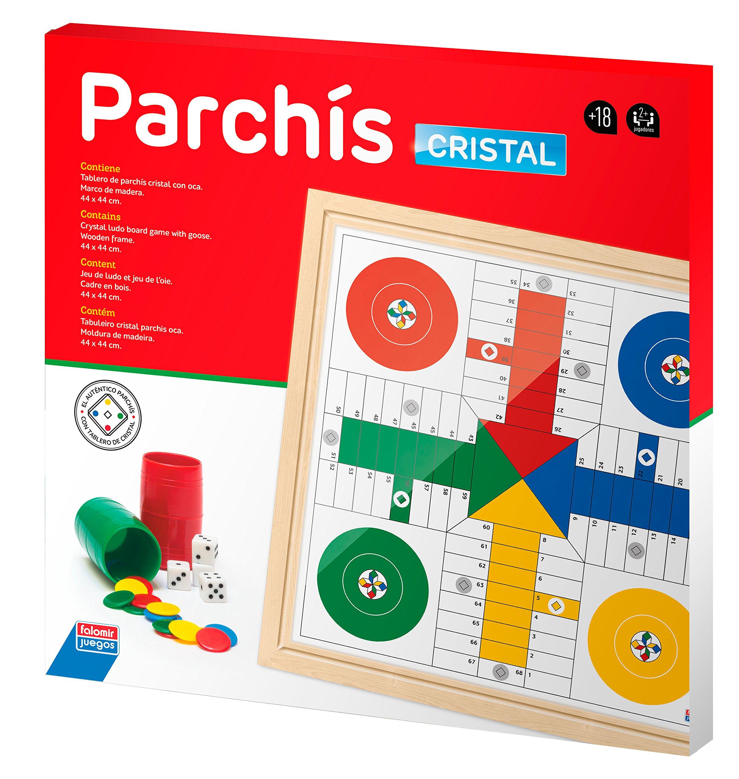 Falomir Tablero Cristal Parchís y Oca 44 cm Mesa. Juego Clásico. (27912): Amazon.es: Juguetes y juegos