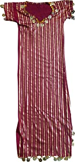 bonballoon Children Girls Kids Belly Dance Nancy Stretchy Galabeya Dress Costume Baladi 401 (Dark Red X Gold (Large))