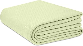 COTTON CRAFT - 100% Soft Premium Cotton Thermal Blanket - King Sage - Snuggle in These Super Soft Cozy Cotton Blankets - Perfect for Layering Any Bed - Provides Comfort and Warmth for Years
