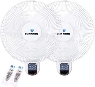 2 Pack – Tornado 16 Inch Digital Wall Mount Fan – Remote Control Included..